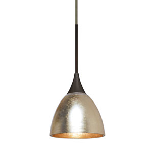 Divi Bronze One-Light Mini Pendant With Gold Foil Glass
