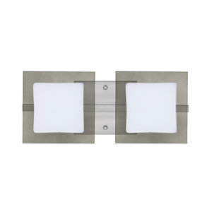 Alex Satin Nickel Two-Light ADA Wall Vanity With Opal and Smoke Glass