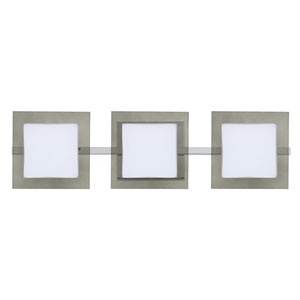 Alex Chrome Three-Light ADA Wall Vanity With Opal and Smoke Glass