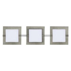 Alex Satin Nickel Three-Light LED ADA Wall Vanity With Opal and Smoke Glass