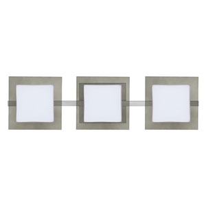 Alex Satin Nickel Three-Light ADA Wall Vanity With Opal and Smoke Glass
