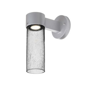 Juni Silver One-Light LED Wall Sconce With Clear Bubble Glass