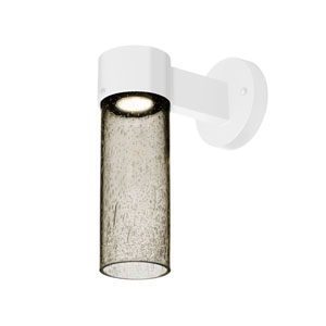 Juni White One-Light LED Wall Sconce With Latte Bubble Glass