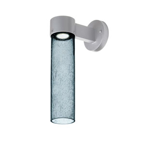 Juni Silver One-Light LED Wall Sconce With Blue Bubble Glass