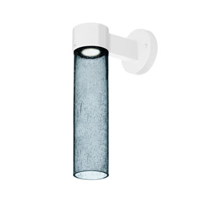Juni White One-Light LED Wall Sconce With Blue Bubble Glass