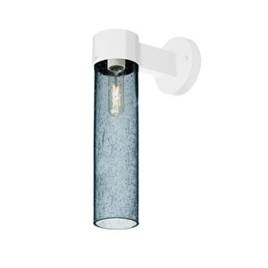 Juni White One-Light Wall Sconce With Blue Bubble Glass