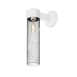 Juni White One-Light Wall Sconce With Clear Bubble Glass