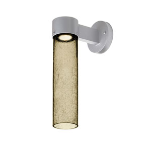 Juni Silver One-Light LED Wall Sconce With Latte Bubble Glass