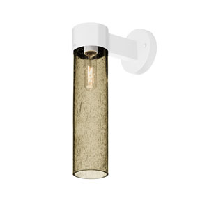Juni White One-Light Wall Sconce With Latte Bubble Glass