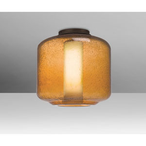 Niles Bronze One-Light Flush Mount With Amber Bubble and Opal Glass