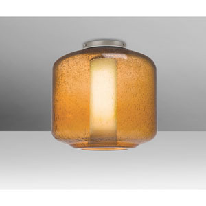 Niles Satin Nickel One-Light Flush Mount With Amber Bubble and Opal Glass