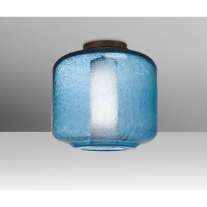 Niles Bronze One-Light Flush Mount With Blue Bubble and Opal Glass