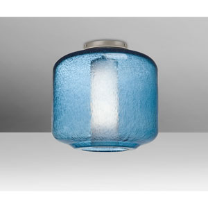 Niles Satin Nickel One-Light Flush Mount With Blue Bubble and Opal Glass