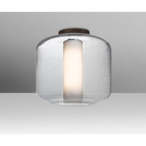 Niles Bronze One-Light Flush Mount With Clear Bubble and Opal Glass
