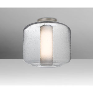 Niles Satin Nickel One-Light Flush Mount With Clear Bubble and Opal Glass