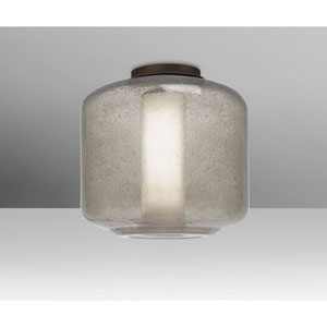 Niles Bronze One-Light Flush Mount With Smoke Bubble and Opal Glass