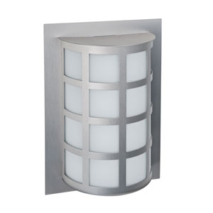Scala Silver One-Light LED Outdoor Sconce With Satin White Glass