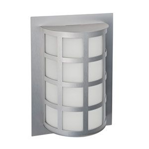 Scala Silver One-Light Outdoor Sconce With White Acrylic Glass