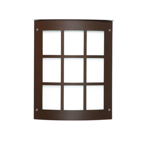 Moto 8 Bronze One-Light Incandescent Grid Outdoor Wall Sconce with White Acrylic Shade