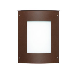 Moto 8 Bronze One-Light Incandescent Square Outdoor Wall Sconce with White Acrylic Shade