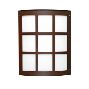 Moto Bronze Two-Light Incandescent Grid Outdoor Wall Sconce with White Acrylic Shade