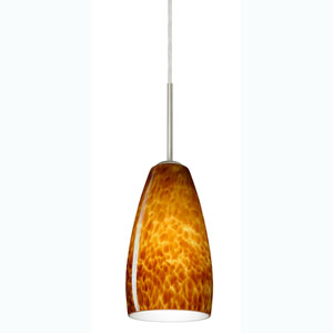 Chrissy Satin Nickel One-Light Mini Pendant with Amber Cloud Glass