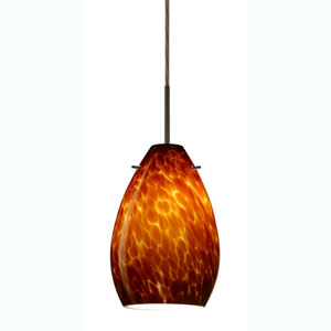 Pera 6 Bronze One-Light Mini Pendant with Amber Cloud Glass