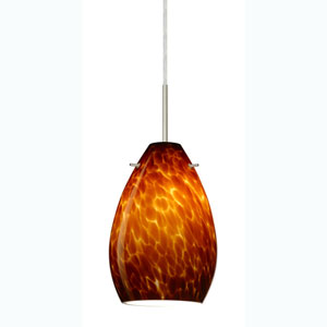 Pera 6 Satin Nickel One-Light Mini Pendant with Amber Cloud Glass