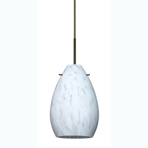 Pera 6 Bronze One-Light Mini Pendant with Carrera Glass