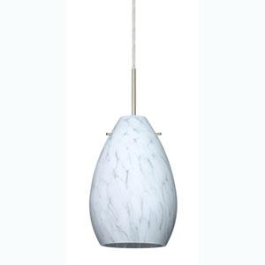 Pera 6 Satin Nickel One-Light Mini Pendant with Carrera Glass