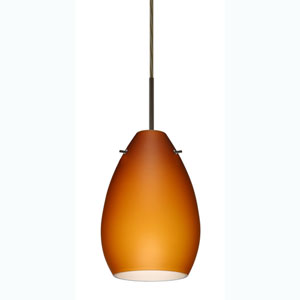 Pera 6 Bronze One-Light Mini Pendant with Amber Matte Glass