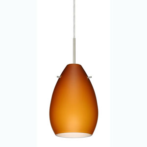 Pera 6 Satin Nickel One-Light Mini Pendant with Amber Matte Glass