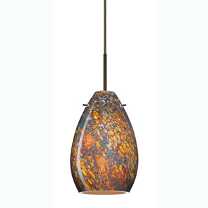 Pera 6 Bronze One-Light Mini Pendant with Ceylon Glass