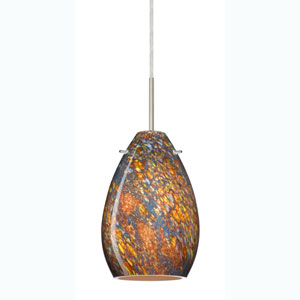Pera 6 Satin Nickel One-Light Mini Pendant with Ceylon Glass