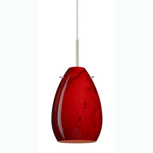 Pera 6 Satin Nickel One-Light Mini Pendant with Magma Glass