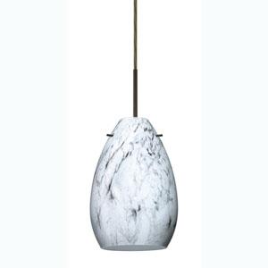 Pera 6 Bronze One-Light Mini Pendant with Marble Grigio Glass