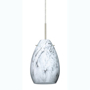 Pera 6 Satin Nickel One-Light Mini Pendant with Marble Grigio Glass