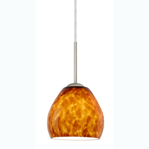 Bolla Amber Cloud Satin Nickel Mini Pendant