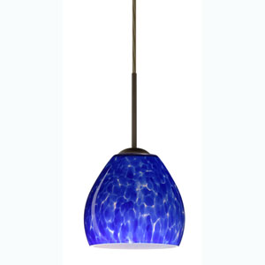 Bolla Bronze One-Light Mini Pendant with Blue Cloud Glass
