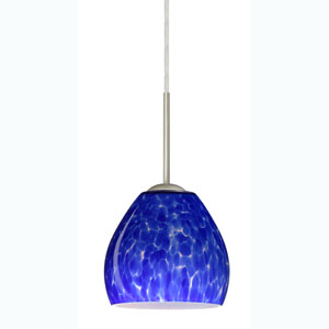 Bolla Satin Nickel One-Light Mini Pendant with Blue Cloud Glass