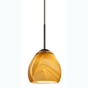 Bolla Bronze One-Light Mini Pendant with Honey Glass