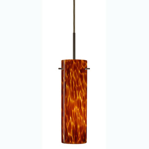 Copa Bronze One-Light Mini Pendant with Amber Cloud Glass