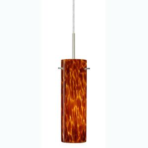 Copa Satin Nickel One-Light Mini Pendant with Amber Cloud Glass