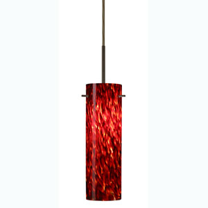 Copa Bronze One-Light Mini Pendant with Garnet Glass