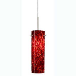 Copa Satin Nickel One-Light Mini Pendant with Garnet Glass