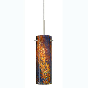 Copa Satin Nickel One-Light Mini Pendant with Ceylon Glass