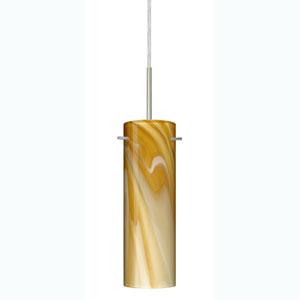 Copa Satin Nickel One-Light Mini Pendant with Honey Glass