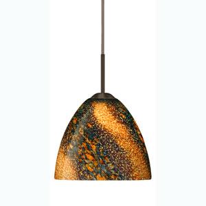 Sasha II Bronze One-Light Mini Pendant with Ceylon Glass