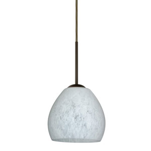 Bolla Bronze One-Light LED Mini Pendant with Carrera Glass