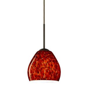 Bolla Bronze One-Light LED Mini Pendant with Garnet Glass